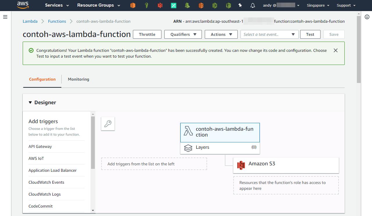 AWS Lambda Function yang dibuat