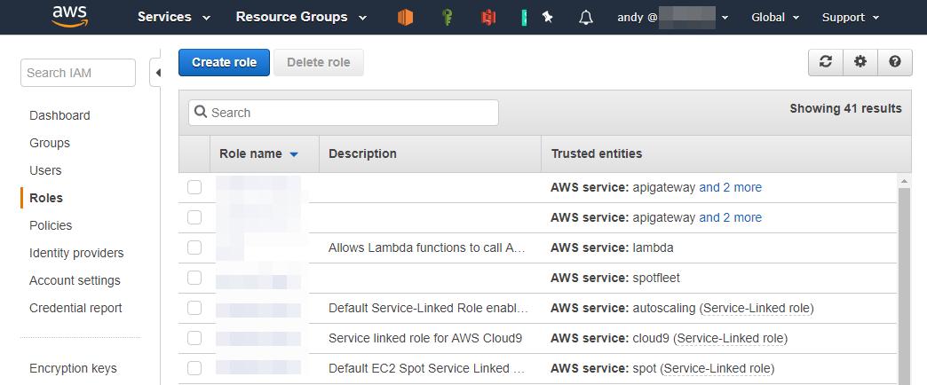Daftar IAM Role di AWS Console