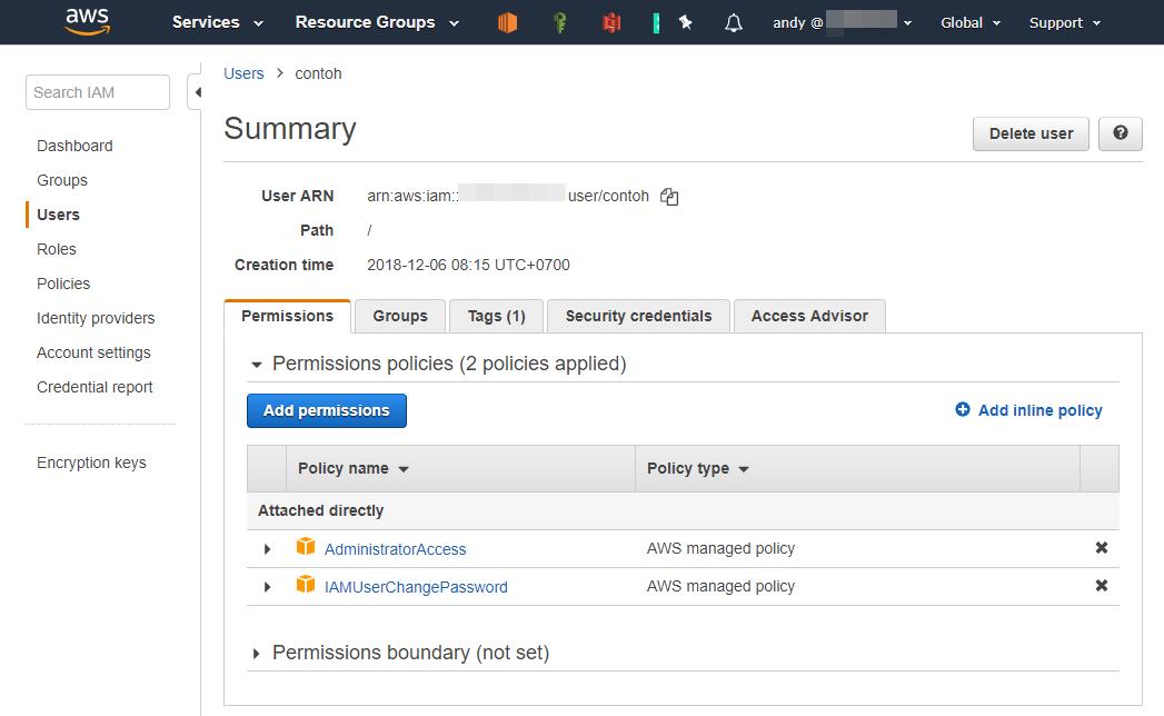 Tampilan tab Security Credentials untuk IAM User di AWS Console