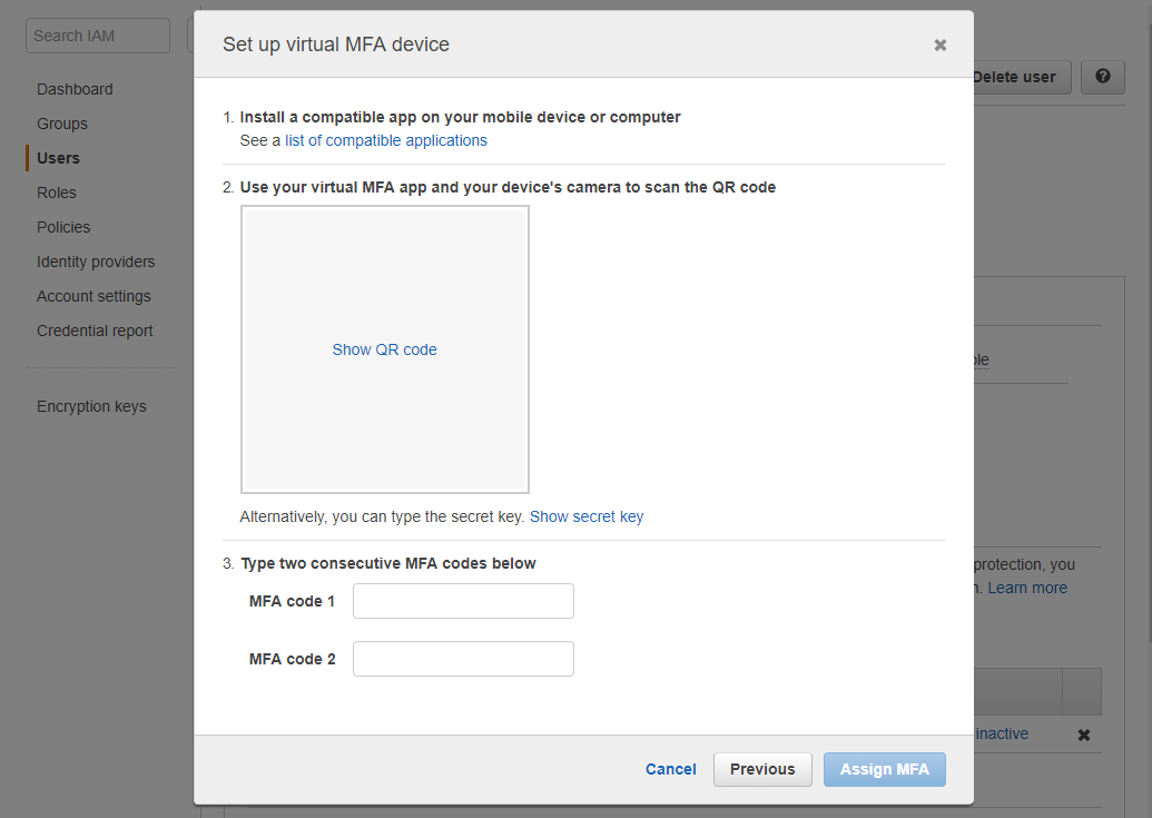 Form set up Virtual MFA device IAM User AWS