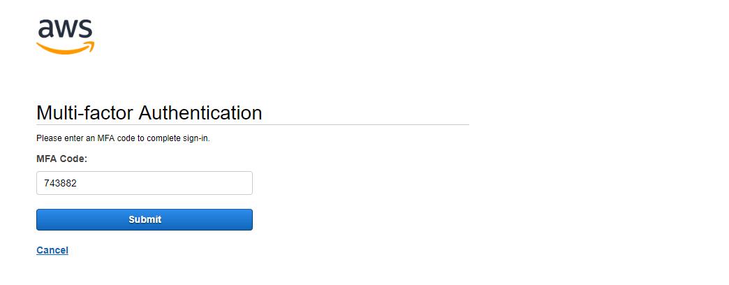 Halaman login AWS Console meminta Two Factor Auth Code