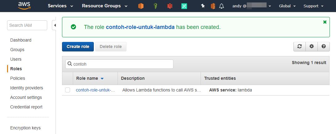 IAM role untuk Lambda sudah dibuat di AWS Console