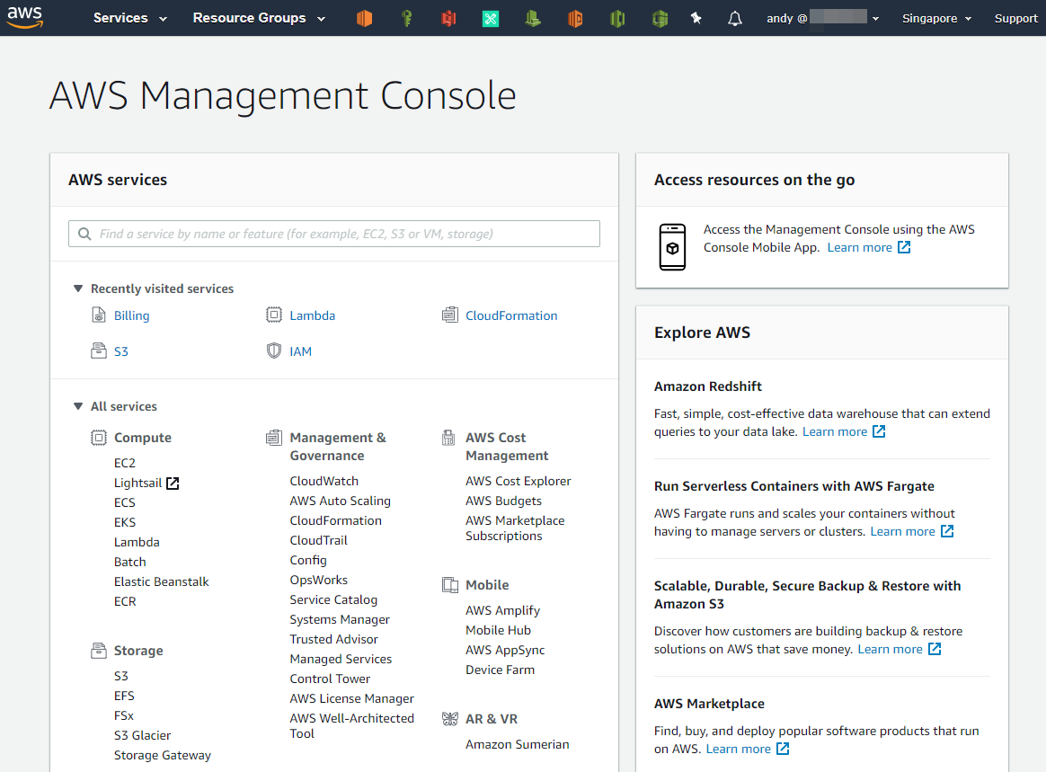 Landing page di AWS Console