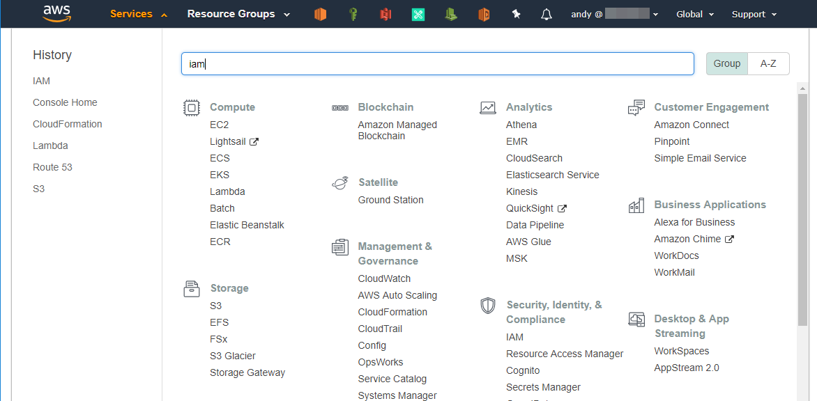Mencari menu IAM di AWS Console