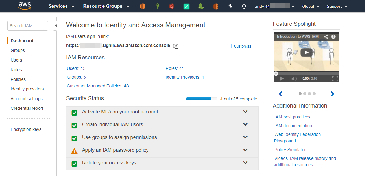 Dashboard Identity and Access Management di AWS Console
