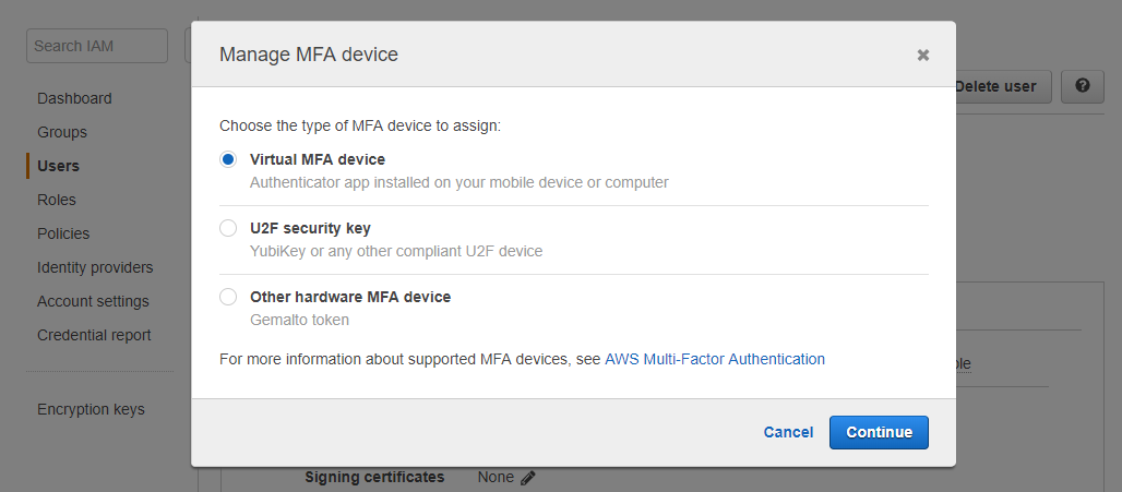 Popup manage MFA device IAM User AWS