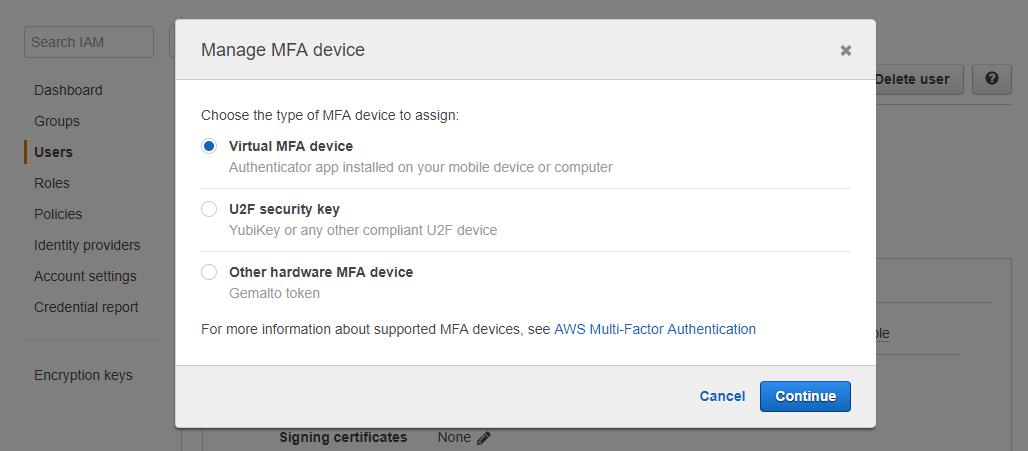 Popup manage MFA device IAM User AWS