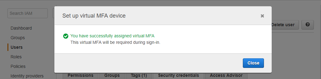 Virtual MFA sudah aktif untuk IAM User di AWS Console
