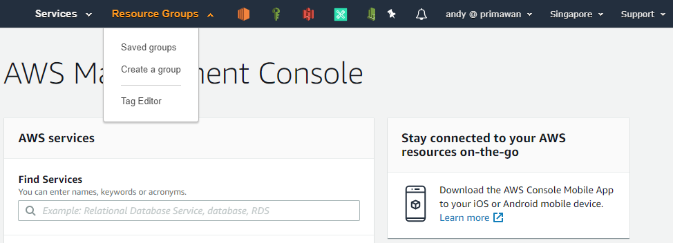 Gambar 3 - Menu Resource Groups di AWS Console